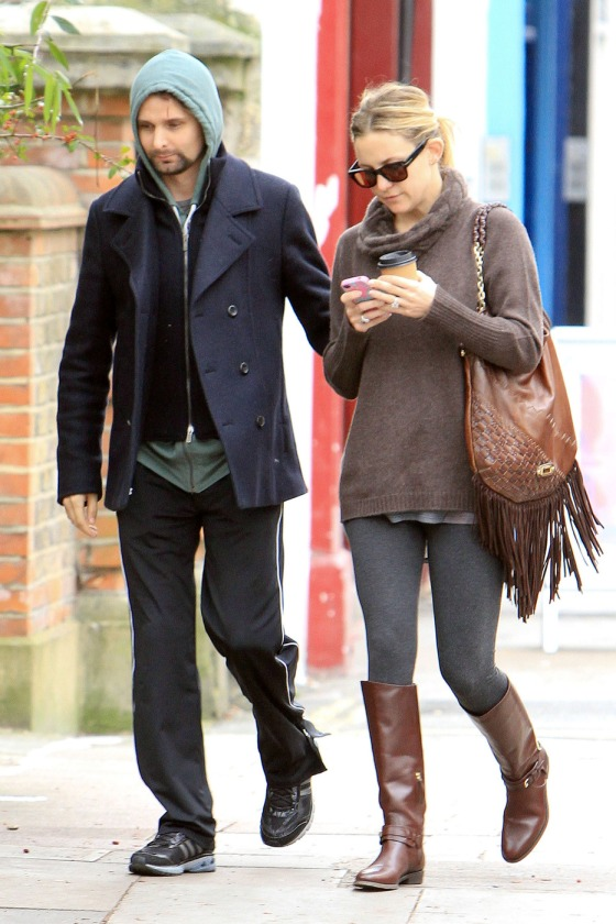 Kate Hudson and Matt Bellamy hold hands as they grab some coffee together in London following a late night out with Kate's mom, Goldie Hawn